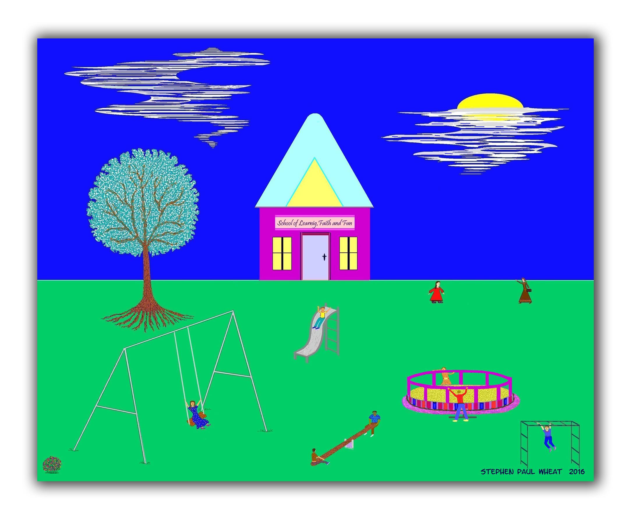abstract children christian folk art, religious wall art, pointillism
